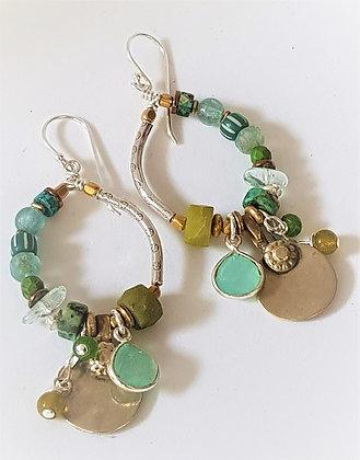 Turquoise tones Oval hoop earrings