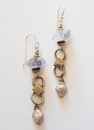 Vintage Crystal and Pearl Earrings