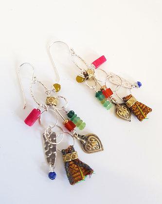 Colourful Sari Silk long cluster Earrings