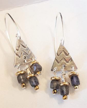 Iolite Petite Triangle Earrings