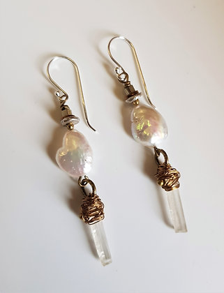 Pearl and Scapolite Earrings