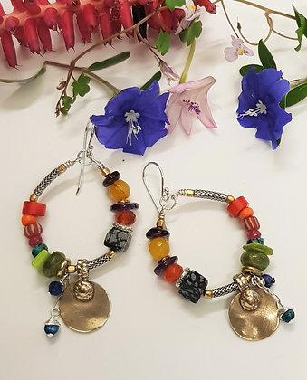 multi Coloured Hoop Earrings