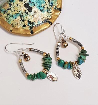 Turquoise Silver Drop Earrings