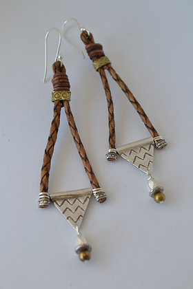 Brown Leather Triangle Earrings