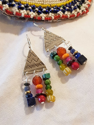 Colourful triangle earrings