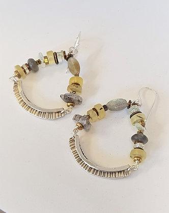 Prehnite and Labradorite hoop earrings