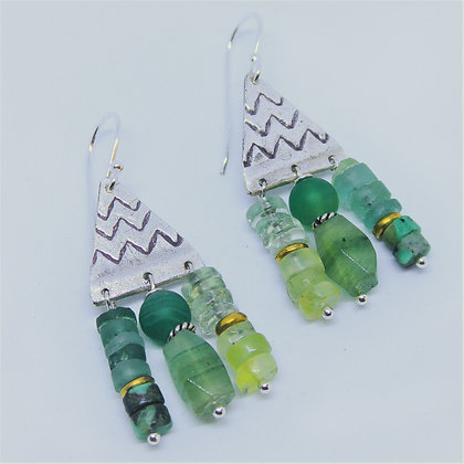 Silver Triangle Shades of green earrings