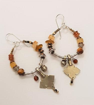 Hoop tan Vintage triangle earrings