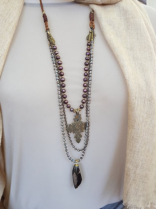 Pearl Necklace with feature Ethiopian pendant and Smokey Quartz Crystal