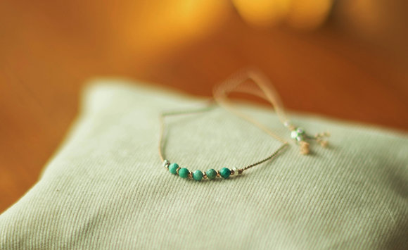 Faceted Turquoise Silk Bracelet