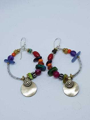 Large Multi Colour Hoop Earrings