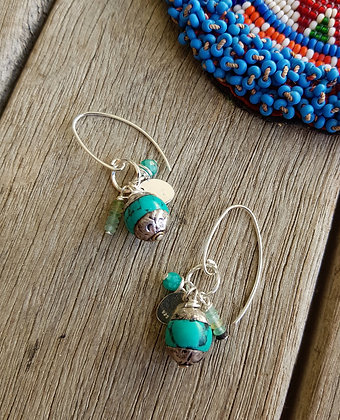 Turquoise Coloured Cluster Earrings