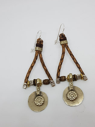 Vintage Afghani Coin Brown Leather Earrings