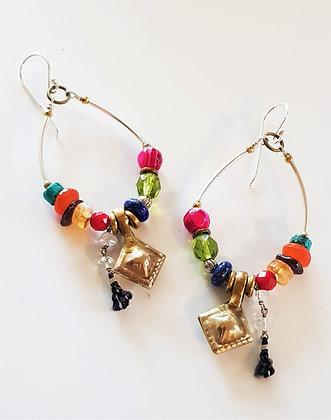 Coloured Vintage Hoop Earrings