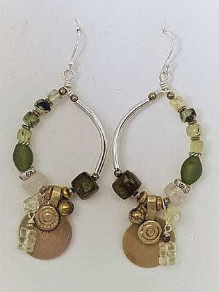 Greens/Oval Hoop earrings