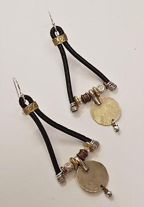 Black Leather Vintage earrings
