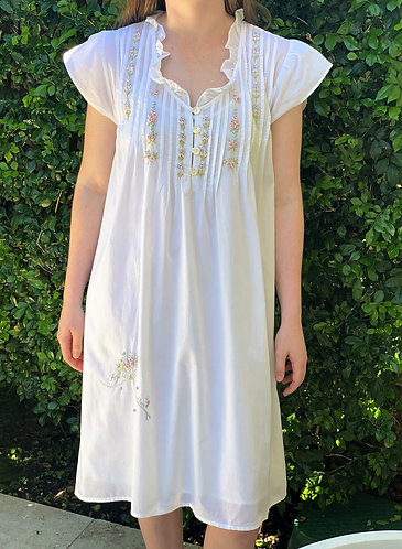 The Antoinette Nightdress With Coloured Embroidery - 2 Designs