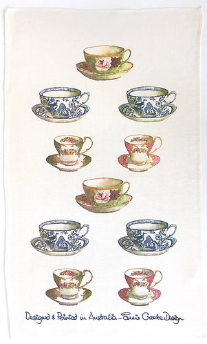Tea Cups Tea Towel