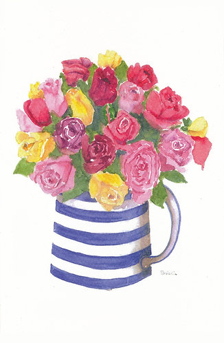 Roses in Stripe Jug Greeting Card