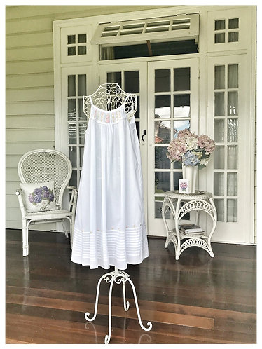 White Embroidered Shoestring Strap Nightdress