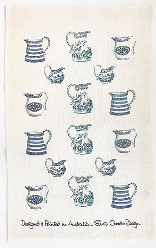 Blue Jugs Tea Towel