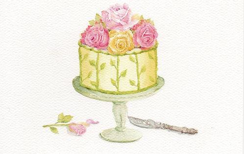 Rose Cake Greeting Card