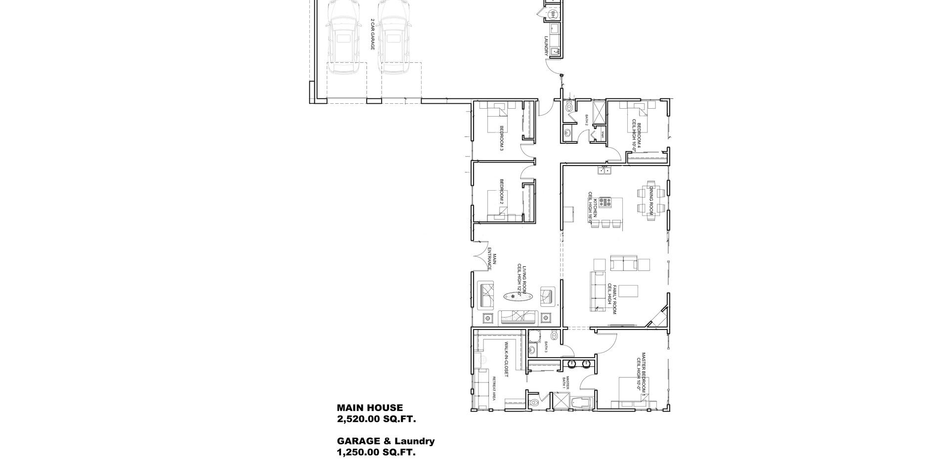 Floor plan Single New Family Residence De Anza  Heights Dr.