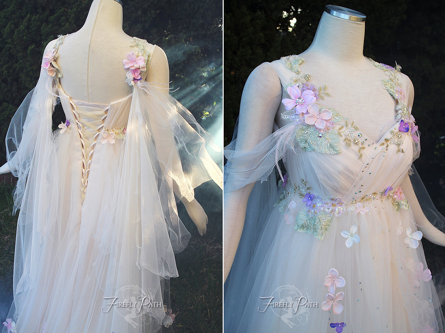 fireflypathbridal elvish wedding dress Rose Armor Gown Tsubasa Chronicles Bridal Gown Meadow Mist Gown