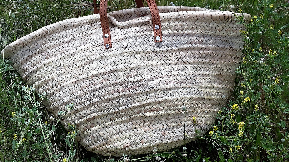 Old Woven Palm Shopping Basket