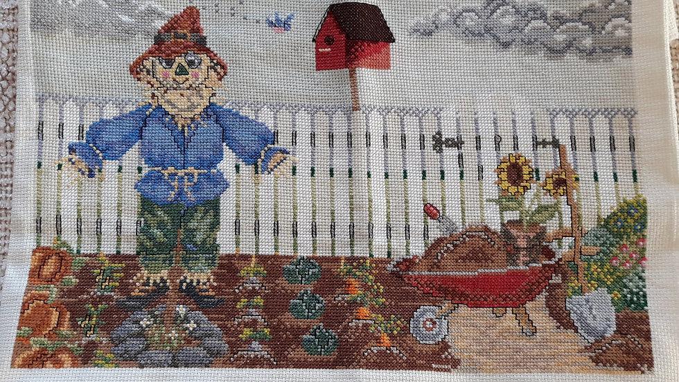 Cross stitch - Scarecrow in the garden