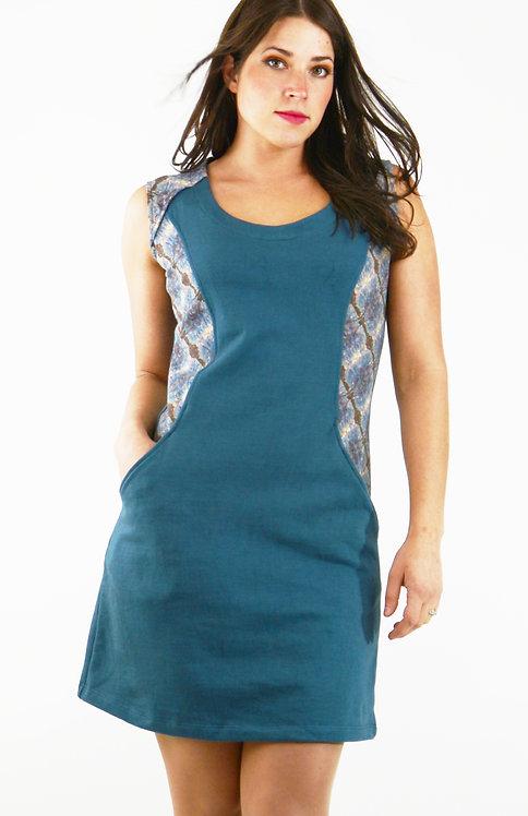 Pavlina Dress ~ Teal/Watercolor