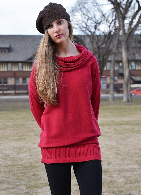 Fenella Sweater Tunic ~ Cherry