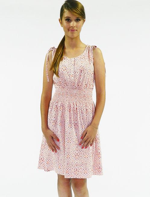 Laurelle Dress ~ Salmon Mosaic Print