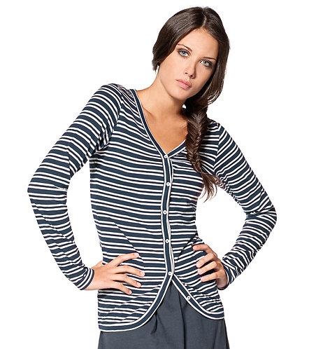 Deauville Cardigan Top ~ Nuit Stripes