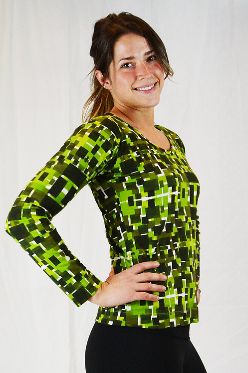 Prisme Top ~ Green Mix Print