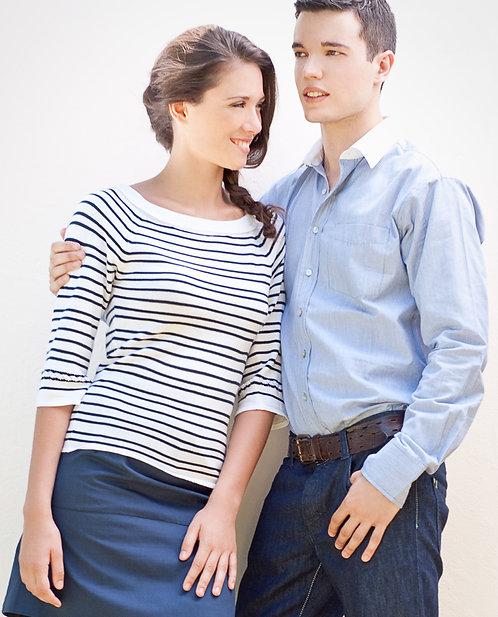 Honeymoon Top ~ Navy Stripes