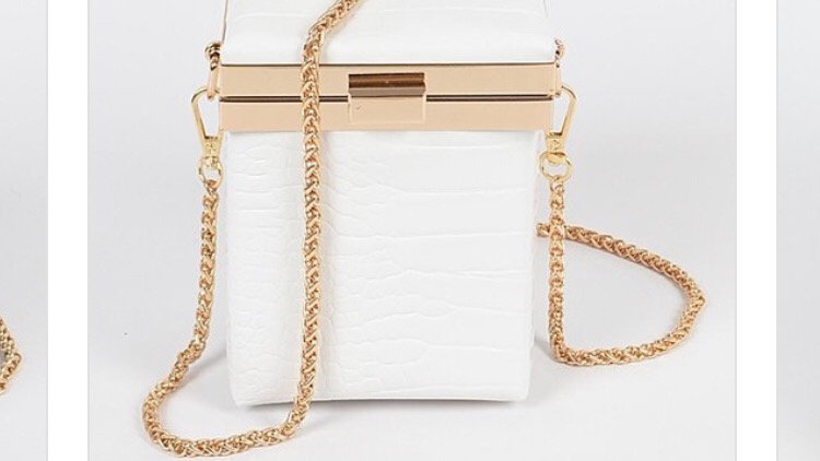 Endangered species white croc cube purse