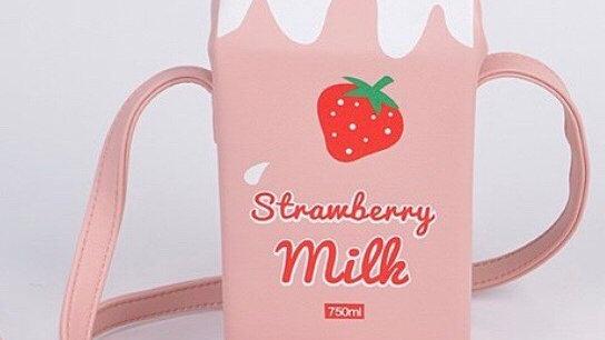 Strawberry milk carton purse