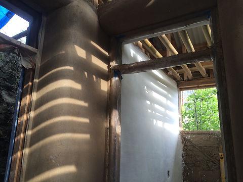 Inside straw bale house