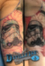 Tony DeVille DeVille Ink Tattoo and Piercing Baltimore Maryland Storm Trooper Tattoo Black and Gray Tattoo Flower Tattoo Inner Arm Tattoo