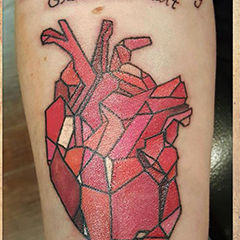 KC DeVille DeVille Ink Tattoo and Piercing Baltimore Maryland Origami Tattoo Heart Tattoo Anitomical Heart Tattoo Color Tattoo Fancy Writing Tattoo