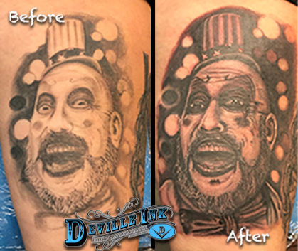 Tony DeVille DeVille Ink Tattoo and Piercing Baltimore Maryland Captain Spalding Tattoo Devils Rejects Tattoo Black and Gray Tattoo Portrait Tattoo Photo Realism Tattoo