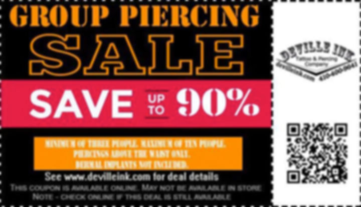 Group Piercing Special Groupon DeVille Ink