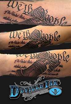 Tony DeVille DeVille Ink Tattoo and Piercing Baltimore Maryland Black and Gray Tattoo 2nd Ammendment Tattoo Bell Tattoo