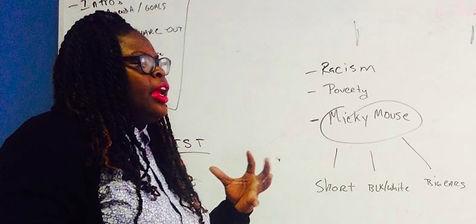 Porsha Olayiwola leading poetry workshop for MassLEAP