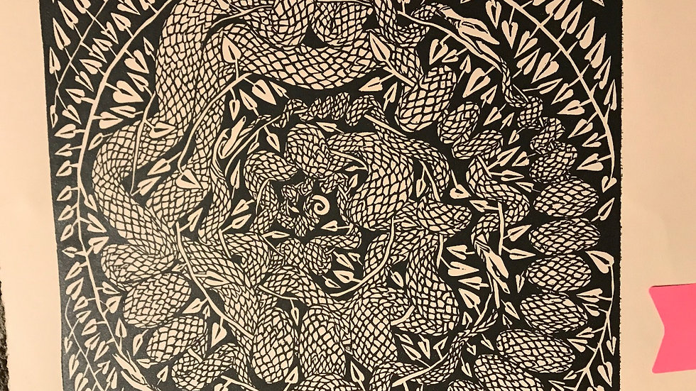 Woodcut: Snake Den