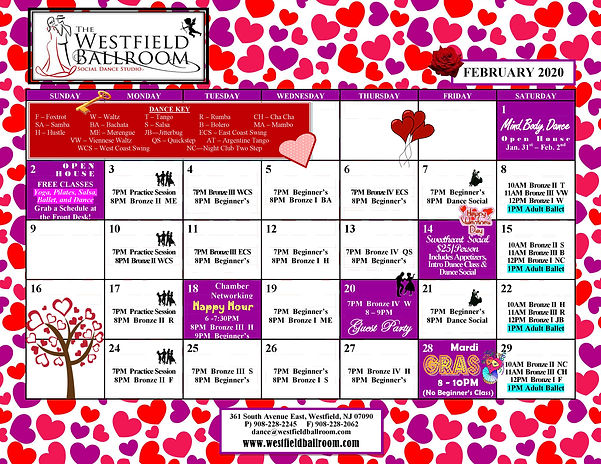 The Westfield Ballroom Calendar