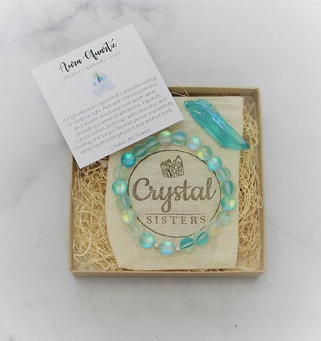 Aqua Aura - Gift Set Bracelet & Loose Stone