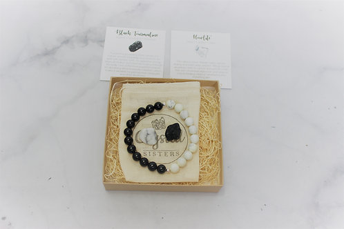 Howlite & Black Tourmaline - Gift Set Bracelet & Loose Stone