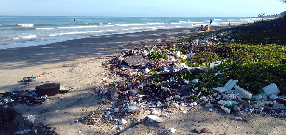 trash on the beach...